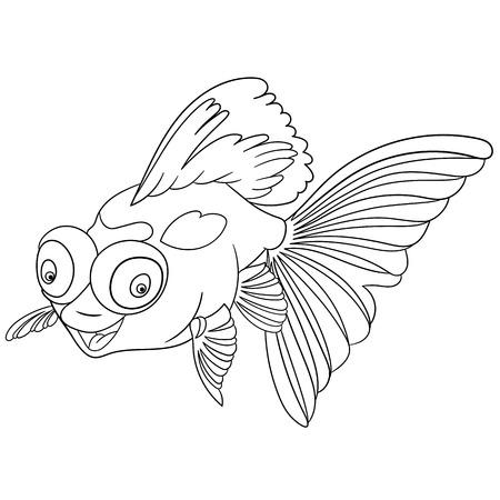 escamas de peces: la sonrisa linda peces de colores telescopio de dibujos animados encantadora y feliz con los ojos grandes y globo, aislado en un fondo blanco Vectores