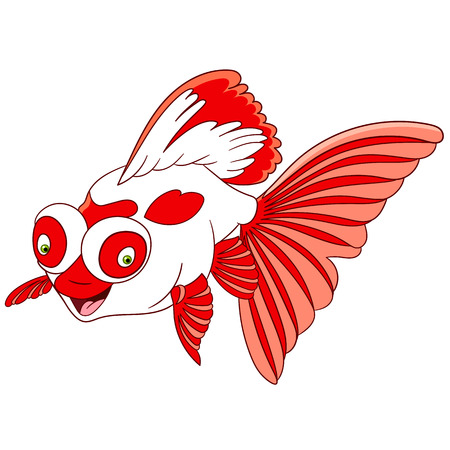 carassius gibelio: cute lovely and happy smiling cartoon telescope goldfish with big and globe eyes, isolated on a white background