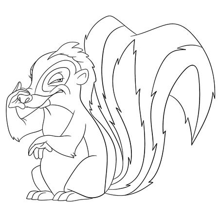 farting: cute funny cartoon skunk is scenting stinking smell of somebodys farting, isolated on a white background