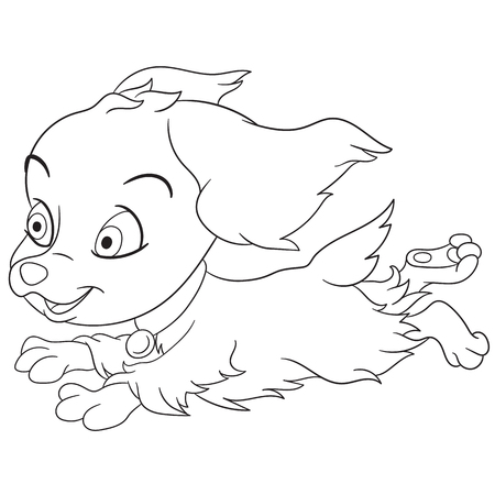 quickly: cute and happy cartoon girlish spaniel dog is quickly and lively running, isolated on a white background