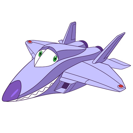 stealthy: cute and funny childish cartoon plane f-22 raptor, stylized to human face, isolated on a white background