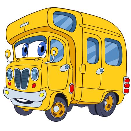 autobús lindo y divertido infantil escuela de la historieta, estilizado con rostro humano para los niños, aislado en un fondo blanco Vectores