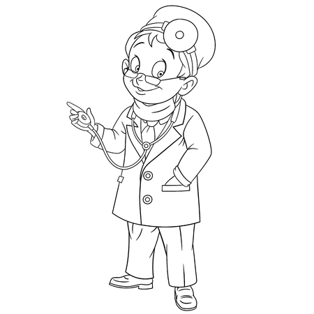 otolaryngologist: cute and friendly cartoon man doctor (physician, otolaryngologist) with glasses and medical mask smiling while examining using his stethoscope, isolated on a white background Illustration
