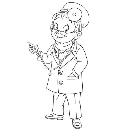 zapatos caricatura: doctor lindo y amable hombre de la historieta (médico, otorrinolaringólogo) con gafas y máscara médica sonriente mientras se examina usando el estetoscopio, aislado en un fondo blanco