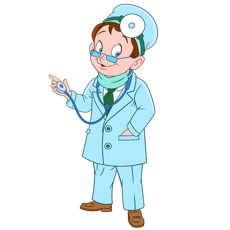 healer: cute and friendly cartoon man doctor (physician, otolaryngologist) with glasses and medical mask smiling while examining using his stethoscope, isolated on a white background Illustration
