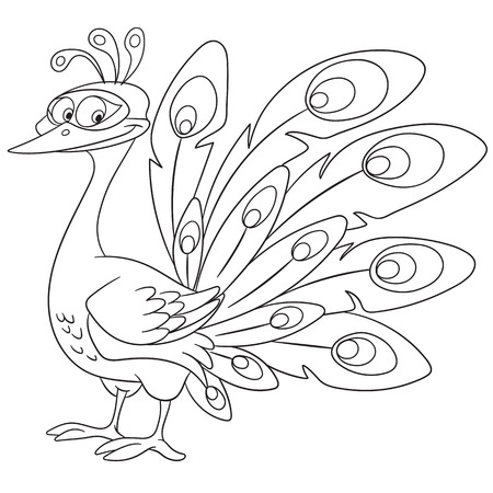 crown tail: cute queenly and gorgeous cartoon girlish peacock bird with a beautiful crown and colorful ornate tail, isolated on a white background