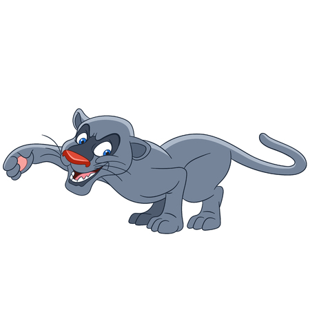 cute and lovely cartoon panther prowling to catch something to eat, isolated on a white background Çizim