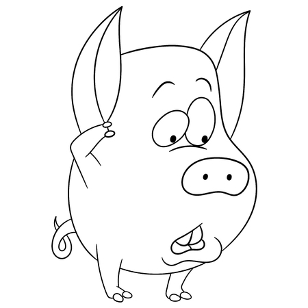 doubting: cute funny shy and doubting cartoon pig (piggy, hog, sow) is thinking or choosing something hesitatingly, isolated on a white background