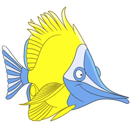 escamas de peces: pescado lindo y feliz historieta de la mariposa blanca (pescado Chelmon, coralfish) es la nataci�n y sonriente, aislado en un fondo blanco