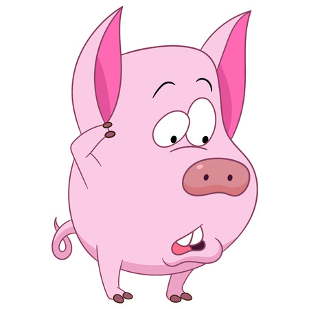 hesitate: cute funny shy and doubting cartoon pig (piggy, hog, sow) is thinking or choosing something hesitatingly, isolated on a white background
