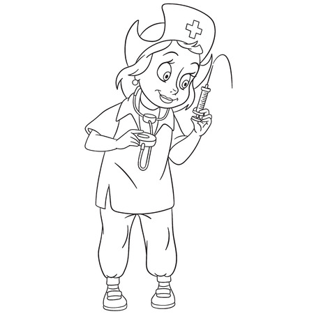 nurse injection: cute and friendly cartoon woman nurse (pediatric nurse, doctor) with stethoscope and medical syringe is ready to make a shot (injection), isolated on a white background