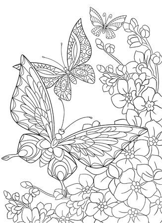 dibujos para colorear: mariposa de dibujos animados estilizada y la flor de sakura aislado en el fondo blanco. Boceto para colorear página del adulto antiestrés. , Garabato, elementos de diseño floral para dar color.