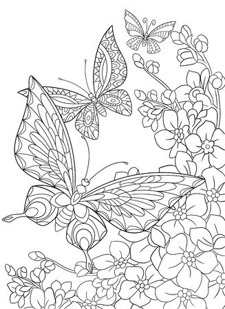 white butterfly: stylized cartoon butterfly and sakura flower isolated on white background. Sketch for adult antistress coloring page. floral, doodle, design elements for coloring book.