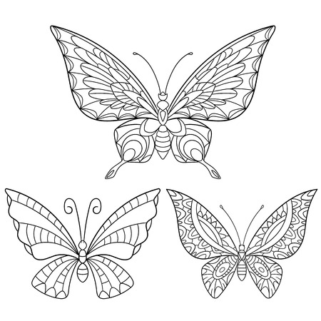 gestileerde cartoon collectie van vlinders op een witte achtergrond. Schets voor volwassen antistress kleurplaat. krabbel, bloemen ontwerp elementen voor kleurboek. Stock Illustratie