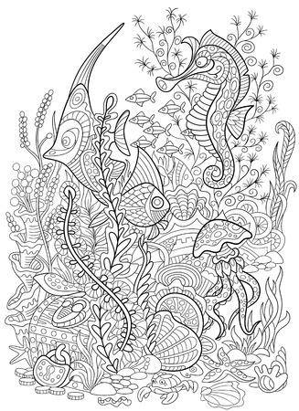 corales marinos: Peces de dibujos animados estilizada, caballito de mar, medusas, cangrejos, moluscos y estrellas de mar aislado en el fondo blanco. n boceto de la página para colorear para adultos antiestrés.