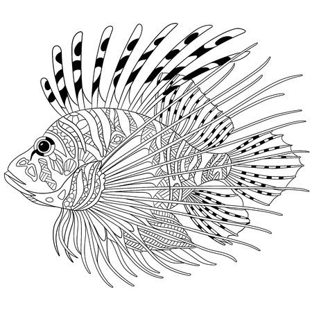 Gestileerde cartoon zebravis (leeuwvis, pterois volitans), geïsoleerd op een witte achtergrond. Schets voor kleurplaat voor volwassenen. Doodle, elementen voor het kleuren boek.