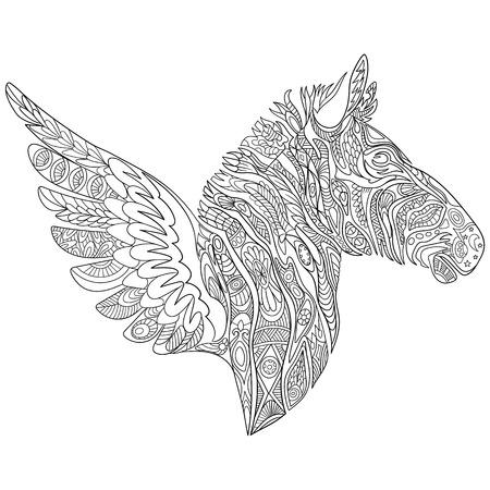 mosca caricatura: cebra de dibujos animados estilizada con las alas, aislado en fondo blanco. Boceto para colorear página del adulto antiestrés. garabato, elementos de diseño floral para dar color.