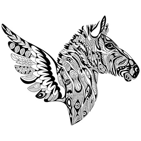 antistress: stylized cartoon zebra with wings, isolated on white background. Sketch for adult antistress coloring page. doodle, floral design elements for coloring book. Illustration