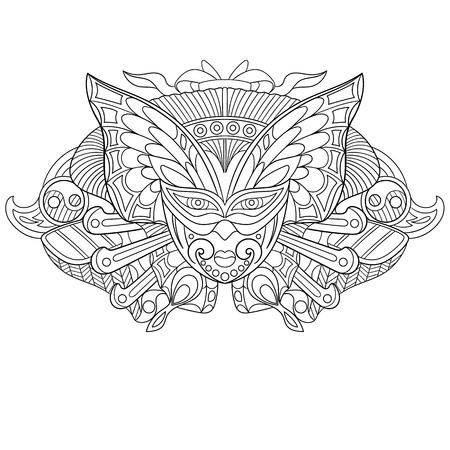 cartoon adult: stylized cartoon carnaval mask, isolated on white background.  sketch for adult antistress coloring page.