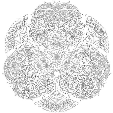 antistress: stylized cartoon three lion masks, isolated on white background. Sketch for adult antistress coloring page.  doodle, floral design elements for coloring book.