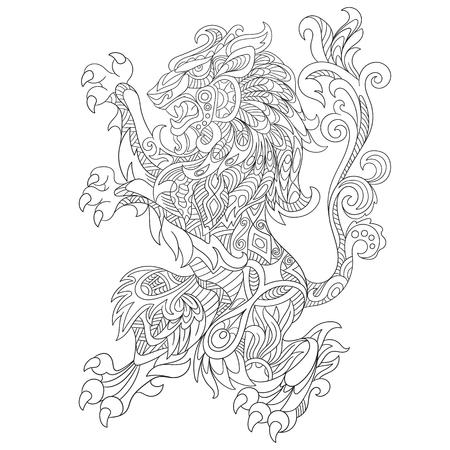 estilizado dibujo animado salvaje del león enojado, aislado en fondo blanco. Boceto para colorear página del adulto antiestrés. garabato, elementos de diseño floral para dar color.