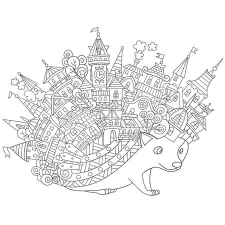 흰색 배경에 고립 된 양식에 일치시키는 만화 고슴도치. 성인 안티 스트레스 색칠 페이지에 대한 스케치. 낙서, 색칠하기 책 꽃 디자인 요소입니다.