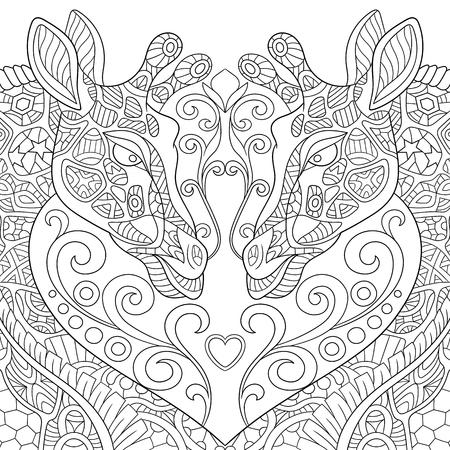 gestileerde twee cartoon mooie giraffen met een hart. Schets voor volwassen antistress kleurplaat. krabbel, bloemen ontwerp elementen voor kleurboek. Stock Illustratie
