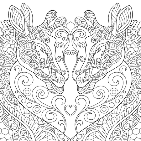 coloring pages to print: stylized two cartoon lovely giraffes with a heart. Sketch for adult antistress coloring page. doodle,  floral design elements for coloring book.