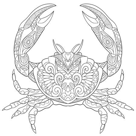 cangrejo de la historieta estilizada, aislado sobre fondo blanco. Boceto para colorear página del adulto antiestrés. garabato, elementos de diseño floral para dar color.