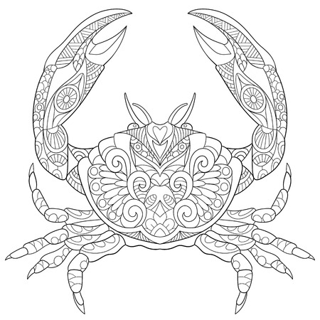 oceano: cangrejo de la historieta estilizada, aislado sobre fondo blanco. Boceto para colorear página del adulto antiestrés. garabato, elementos de diseño floral para dar color. Vectores