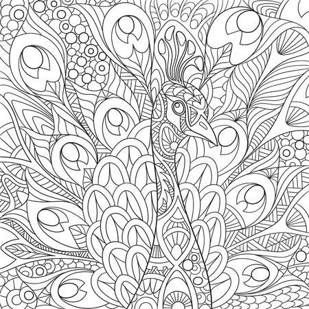 stylized cartoon peacock with gorgeous feathers and royal crown. Sketch for adult antistress coloring page.doodle,  floral design elements for coloring book.