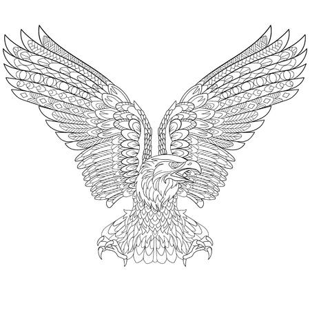halcones: águila estilizada de la historieta, aislado sobre fondo blanco. Boceto para colorear página del adulto antiestrés. garabato, elementos de diseño floral para dar color. Vectores