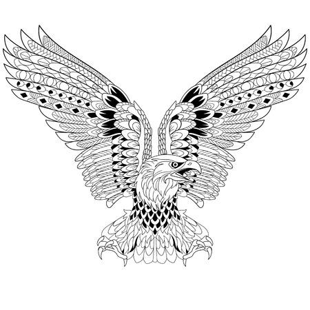 dibujos para colorear: águila estilizada de la historieta, aislado sobre fondo blanco. Boceto para colorear página del adulto antiestrés. garabato, elementos de diseño floral para dar color. Vectores
