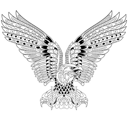 stylized cartoon eagle, isolated on white background. Sketch for adult antistress coloring page.  doodle, floral design elements for coloring book.