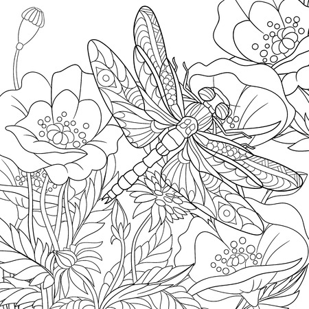 stylized cartoon dragonfly insect is flying around poppy flowers. Sketch for adult antistress coloring page. doodle, floral design elements for coloring book.