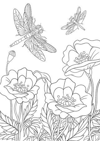 様式化された 2 つの漫画のトンボ ケシの花の周りを飛んでいます。大人の抗ストレスぬりえページをスケッチします。落書き、塗り絵用花のデザイ