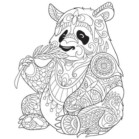 stylized cartoon panda Vectores