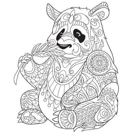 stylized cartoon panda 向量圖像