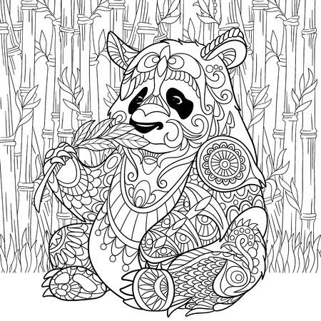 stylized cartoon panda Vettoriali