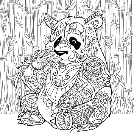 coloring pages to print: stylized cartoon panda Illustration