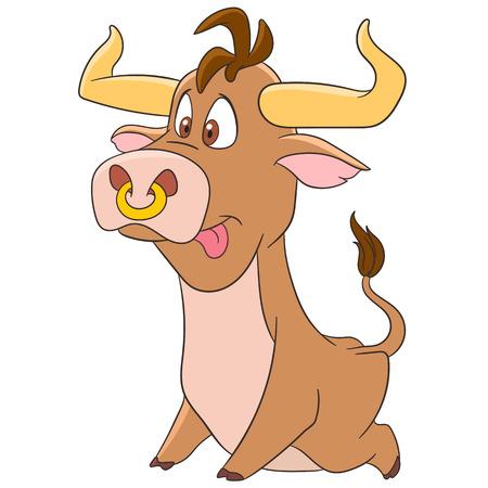 corrida de toros: toro de dibujos animados lindo y divertido (buey, búfalo, pantorrilla) uno de los símbolos de animales en el horóscopo chino y el signo astrológico de Tauro zodiaco, aislado en un fondo blanco