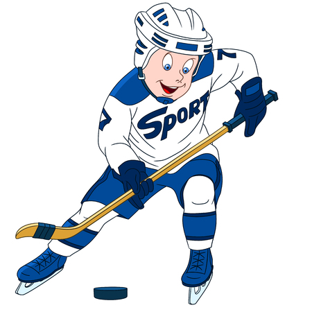 cute and playful cartoon boy hockey player, isolated on a white background Illustration