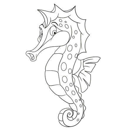 curly tail: cute and shy cartoon seahorse with long nose, curly tail and spots on a body, isolated on a white background
