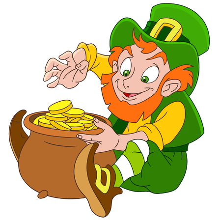 17th march: cute and happy cartoon leprechaun on St. Patricks Day sitting with a pot full of gold, isolated on a white background