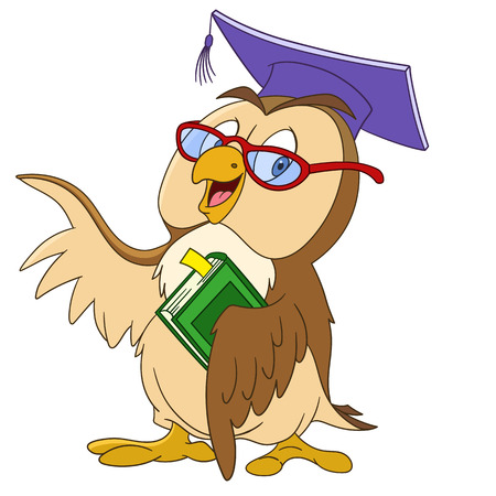 educated: cute educated cartoon owl in a graduation cap and glasses is holding a book, isolated on a white background
