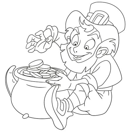 full day: cute and happy cartoon leprechaun on St. Patricks Day sitting with a pot full of gold, isolated on a white background