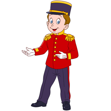doorkeeper: cute and happy cartoon indoor hotel porter (bellboy, bellman, bellhop, doorman, doorkeeper), isolated on a white background