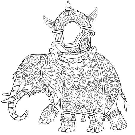 cartoon elephant, isolated on white background. Sketch for adult antistress coloring page. Hand drawn doodle, floral design elements for coloring book. 矢量图像