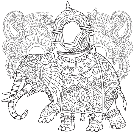 cartoon elephant with paisley and mehndi symbols. Sketch for adult antistress coloring page. Hand drawn doodle, floral design elements for coloring book.