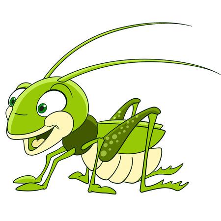 cute and funny smiling cartoon grasshopper